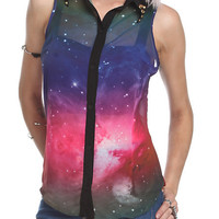 Galaxy Button-Up Sleeveless Top   Hot Topic