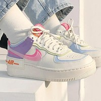 NIKE Air Force 1 Shadow Women's Colorblock Ultra Light Low-Top Sneakers Shoes