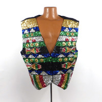 Ugly Christmas Sweater Vintage Sparkly Scala Vest Sequin Fish