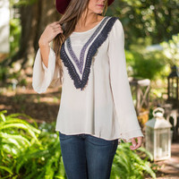V for Victory Blouse, Ivory
