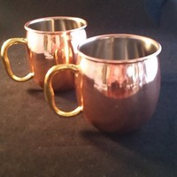 Moscow Mules Copper Coated Cups with Gold E Z Grip Handles S/2
