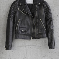 Black Leather Express Edition Moto Jacket from EXPRESS