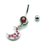 New Charming Dangle Crystal Navel Belly Ring Bling Barbell Button Ring Piercing Body Jewelry = 4804913860