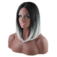 Grey White Heat Resistant Synthetic Wig Fiber Bob Hair Cosplay Costume Play 36-38cm