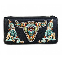 Embroidered Wallet In Black