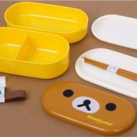 yellow Rilakkuma bear Bento Box with brown bear face - Bento Boxes - kawaii shop modeS4u