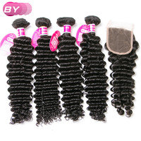 Online Shop Miss Lula Hair 7a Brazilian Curly Virgin Hair With Closure Top Virgin With Closure Deep Wave Human Hair 4 Bundles With Closure | Aliexpress Mobile