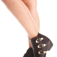 BLACK TRIPLE BUCKLE SMALL STUDDED GOLD TOE PLATED FLAT ANKLE BOOTIE
