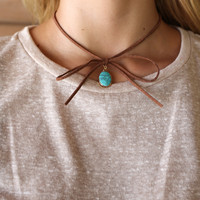 Like Lightning Brown Turquoise Bow String Choker With Stone