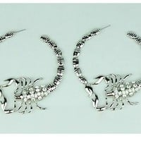 "3.50"" big crystal pierced scorpion hoop earrings basketball wives"