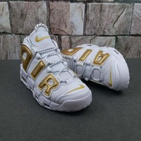 Nike Air More Uptempo White/Gold Sneaker