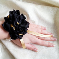 Wrist Corsage, Black chiffon satin gold flower, bridesmaid Corsage hand made silk flower faux pearls bracelet