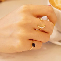 Star Moon Delicate Stud Ring For Women