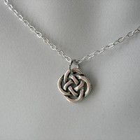 Tiny Celtic Knot Circle-Silver Chain Necklace