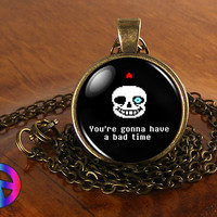 Undertale Sans Bad Time Game Gaming Handmade Glass Necklace Pendant Jewelry Gift