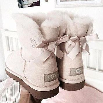 UGG Fashion Women Bow Leather Wool Snow Boots Half Boots Shoes