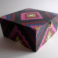Ikat moroccan turkish style wooden jewelry box recipe box fushia pink blue white yellow black jewellery storage
