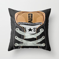 Cute converse all star black baby shoes Throw Pillow by Three Second