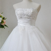 A-line Sweetheart Sleeveless Short/Mini Tulle Fashion Prom Dresses/Wedding Dress/Cocktail Dress With Applique Beading Free Shipping