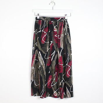 Vintage 1980s Skirt Black Green Pink Abstract Print Mod Fitted Waist New Wave 1980s Skirt Midi Skirt Knee Length Skirt Rad XS S Extra Small