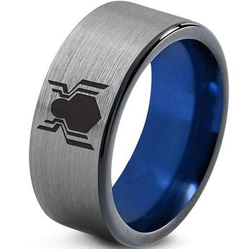 Black Engagement Rings For Her Black Blue Tungsten Carbide Spiderman Flat Ring