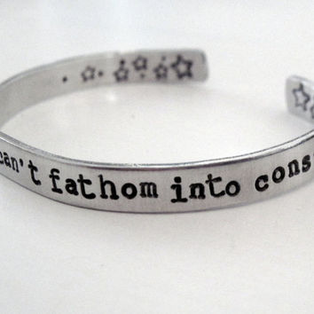 The Fault in Our Stars Bracelet -My Thoughts Are Stars - Aluminum Cuff - Gifts Under 20