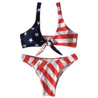 Sexy Women Stars Stripes USA Flag Bikini Set 2018 Bandage Padded Bra Bandeau Swimsuit America Flag Swimwear Backless Beachwear