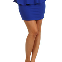 Basic Peplum Mini Skirt - Blue