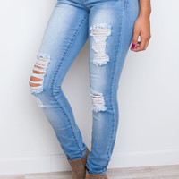 Chelsea Anne Distressed Skinny Jeans - Light Wash