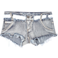 Pale Grey Fringe Ripped Denim Shorts with Waist Cut-Out