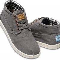 TOMS Shoes Ash Grey Canvas Ankle Boots Botas Youth Kids,