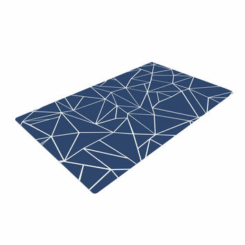 """Project M """"Abstraction Outline Navy"""" Blue Abstract Woven Area Rug"""