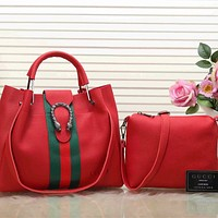 Perfect  Gucci Women Leather Shoulder Bag Tote Handbag Set Two-Piece