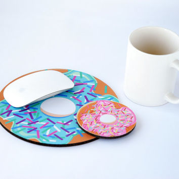 Computer Mouse Pad, Round Mouse Pad, Mousepad Round, Foodie Gift, Donut Fabric Mousepad, Mouse Pad Funny Valentines, Donut Custom Mousepad