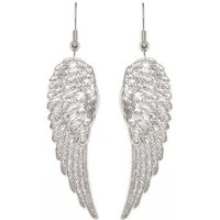 "Nickel Free 1 7/8"" Angel Wings Earrings In Silver Tone: Cora Hysinger: Clothing"