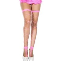 Hot Pink Fishnet Footless Thigh High Stockings With Toe Ring Detail
