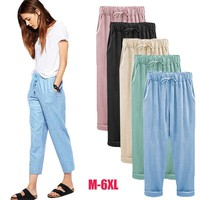 2017 Wide Leg Pants Harem Pant Female Trousers Casual Spring Summer Loose Cotton Linen Overalls Pants Plus Size 3XL 4XL 5XL 6XL