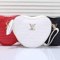 """Louis Vuitton"" Fashion Classic Cute Retro Logo Print Heart Girl Handbag Single Shoulder Messenger Bag"