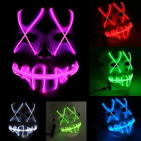 Halloween Mask Cosplay LED Masks Full Face Glow Scary EL Wire Light Up Grin Mask for Festival Music Party Rave Parties Costume