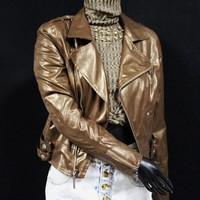 Women's Metallic Brown Moto Jacket