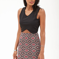 FOREVER 21 Abstract Geo Knee-Length Skirt Burgundy/Mustard