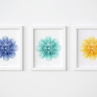 Floral wall art print Set Of 3 PRINTABLE flowers Nursery prints, Blue teal yellow flowers art, Hand drawn prints, Floral decor for Bedroom