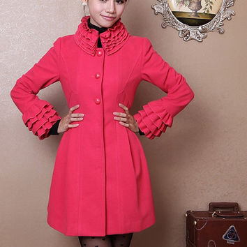 women's Princess style cute bow Fitted Wool autumn winter Coat jacket / dress  watermelon red dy33 S-XL