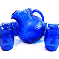 Vintage Cobalt Blue Hazel Atlas Fine Rib Tilt Pitcher with 8 Glasses Set 1930s, Serving, Kitchenware, Dining, Barware, Cobalt Blue Glassware