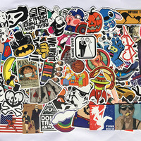 100pcs/lot DIY Fashion Trend Funny Doodle Kuso Waterproof Colorized Decal Skin Stickers Toys For Laptop/Luggage/Phone/Car.