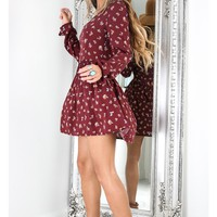 New In Town dress in wine floral