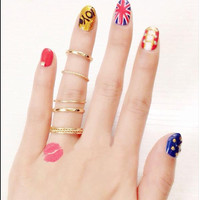 Women Personality Joint Ring Set Gold