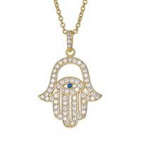 """Sterling Silver Pendant Necklace with CZ Crystal Hamsa Hand Evil Eye Charm, 925 Silver, Adjustable Chain Length 16"""" - 18"""", with Jewelry Box"""