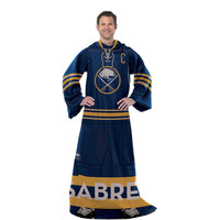 Buffalo Sabres NHL Adult Uniform Comfy Throw Blanket w- Sleeves