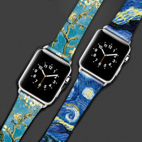 Genunie Leather Apple Watch Iwatch band straps with printing 38mm & 42 mm watchband